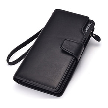 Mens hasp wallet zipper pocket male clutch multifunction genuine leather wallets long cellphone bag big capacity free shipping