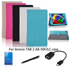 """4in1 protective Leather Case +OTG+ Screen Protector+touch pen For Lenovo YOGA TAB 2 A8-50  8"""" Tablet PC dormancy"""