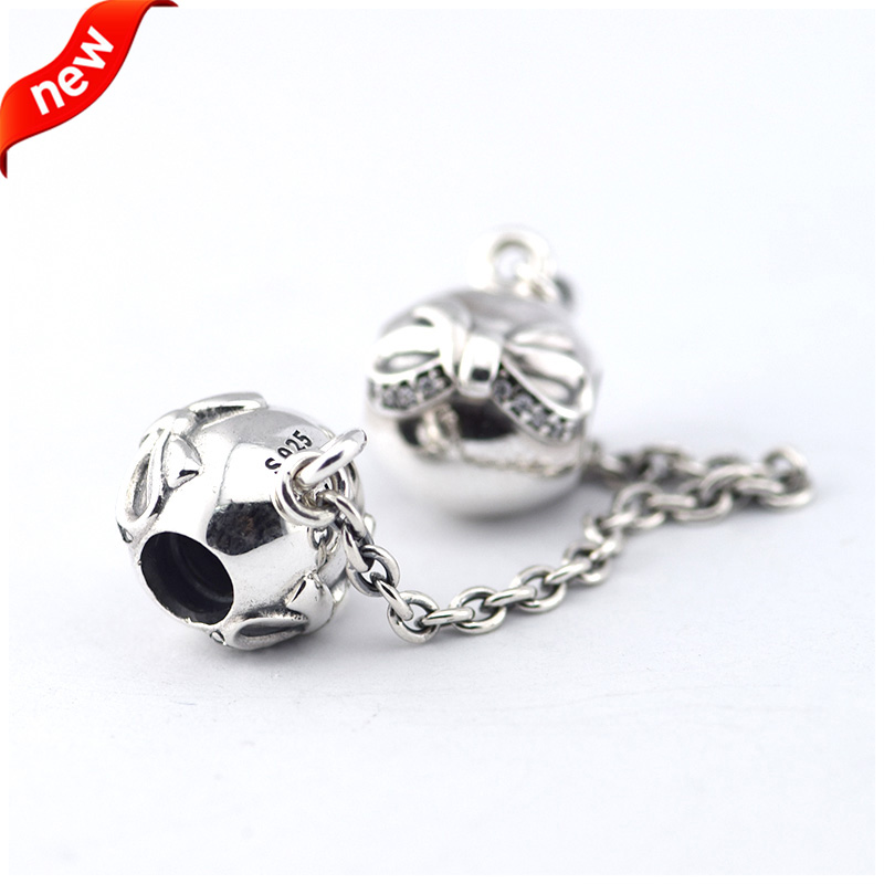 34b23bb7b Safety Chain Beads Fit for Pandora bracelets New 925 Sterling silver DIY  Thread charms Jewelry