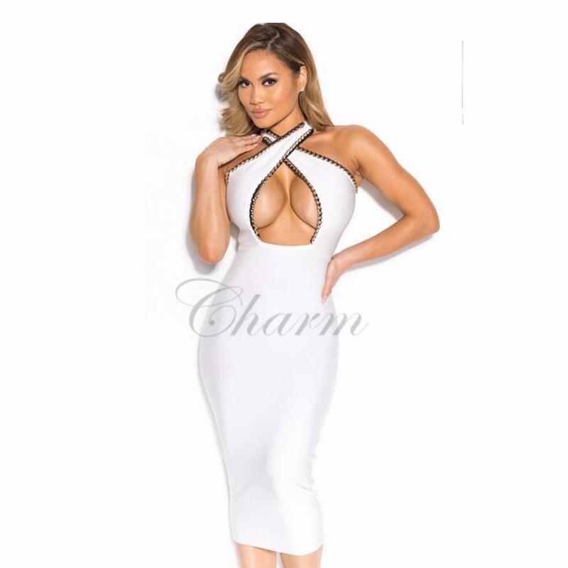2017 את כתף שמלה סקסית נשים משמש שחור לבן ערב מסיבת אורך הברך שמלת שרשרת חרוזים Bodycon שמלות ערב