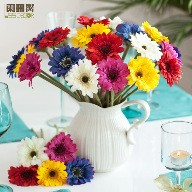 Autumn/Winter Collection Gerbera Sunflower Artificial Silk Daisy Fabric Flowers Decoration For Home Wedding DIY Bridal Bouquets