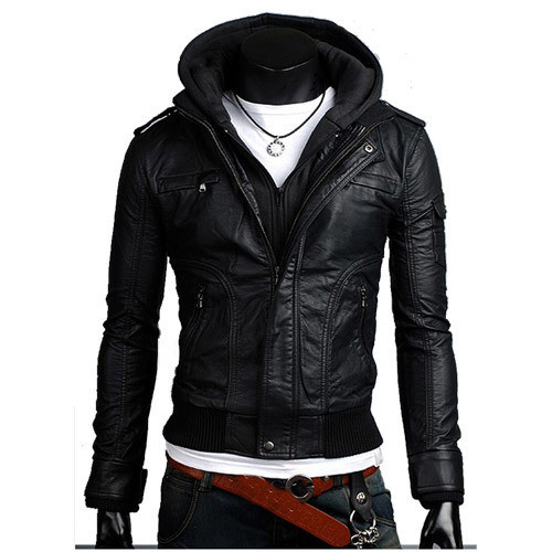 Men leather jacket with hood