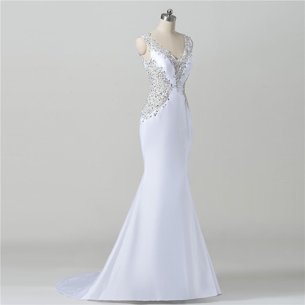 White Satin Wedding Gown Low Cut Back Beaded Mermaid Women