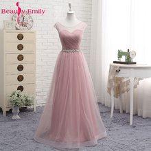 Тюлевые кружевные темно-розовые платья подружки невесты 2020, длинные женские платья трапециевидной формы для свадебных торжеств и выпускно...(Китай)