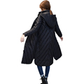 Woman Winter Winter Duck Down Puffer Jacket Womens Hooded Quilted Down Coat Lady Maxi Parka Black