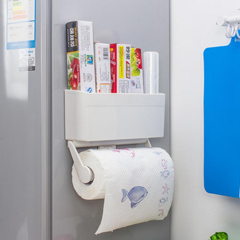 2 in 1 magnetic toilet paper holder refrigerator storage box plastic wrap roll holder wall shelf. Black Bedroom Furniture Sets. Home Design Ideas
