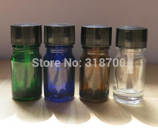 200pcs lot 5ml Empty Nail polish Bottle 5cc Blue green clear amber glass bottle with lined