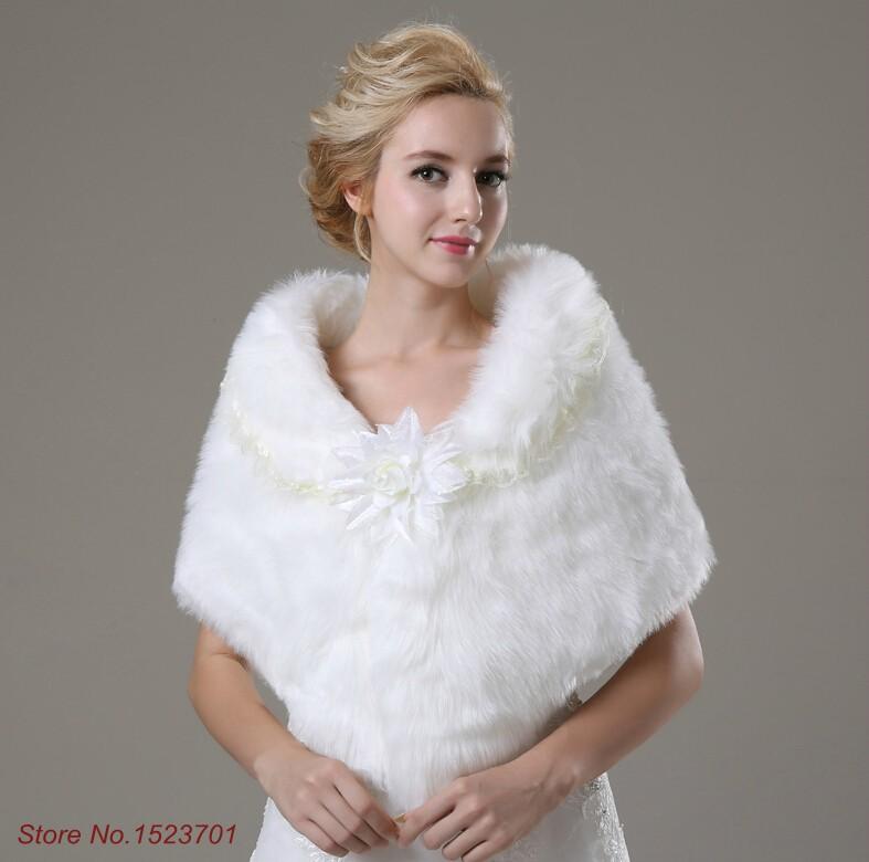 one size cheap ivory cotton faux fur shawl with flower veste femme pour mariage bride winter. Black Bedroom Furniture Sets. Home Design Ideas