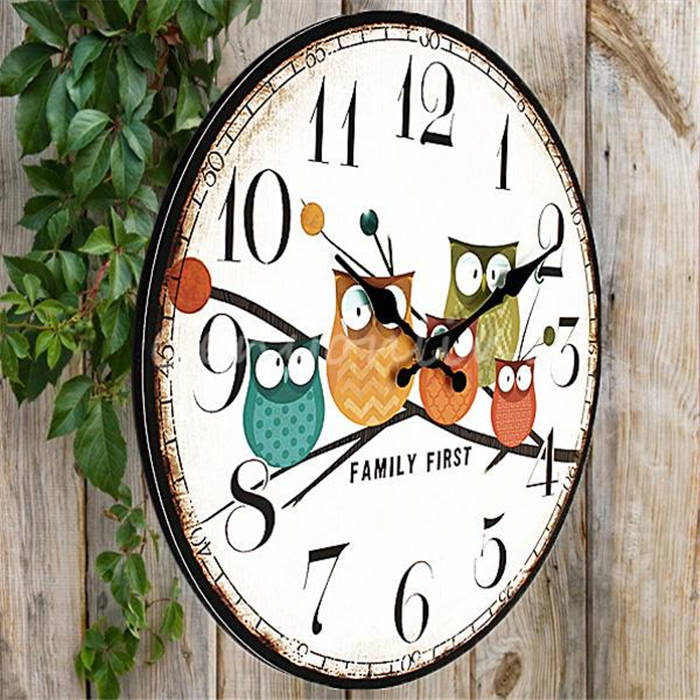Best Promotion Modern Design Owl Vintage Rustic Shabby Chic Home Office Cafe Decoration Art Large Wall Clock