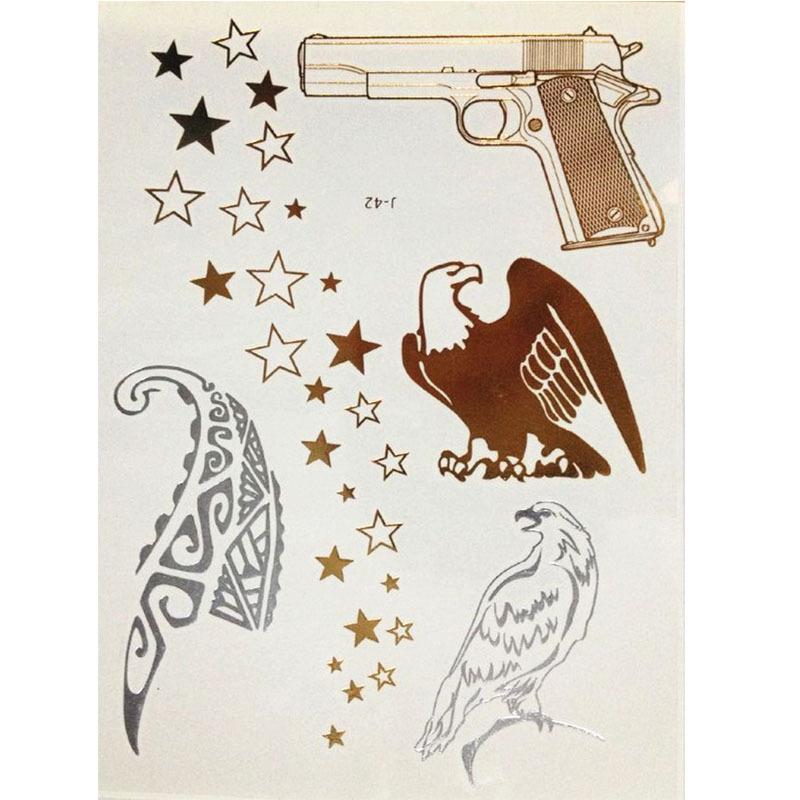 Skull Henna Tattoo: 2-Designs-Gun-Skull-Skeleton-Head-Feather-Henna-Flash