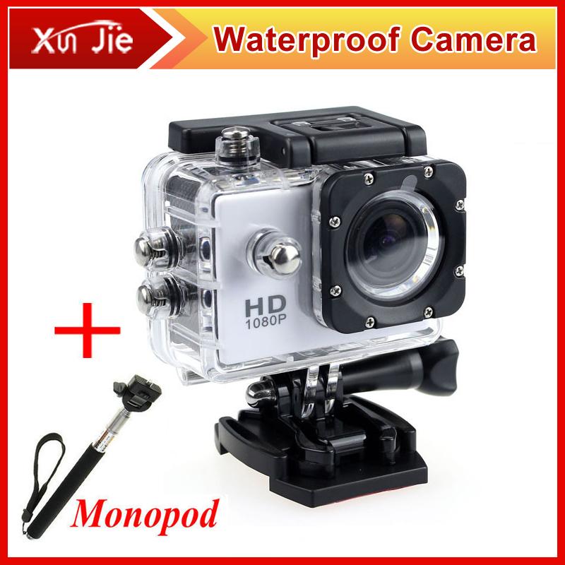 go pro hero 4 камера спортивная 1080P Full HD чехол для камеры водонепроницаемый + монопод