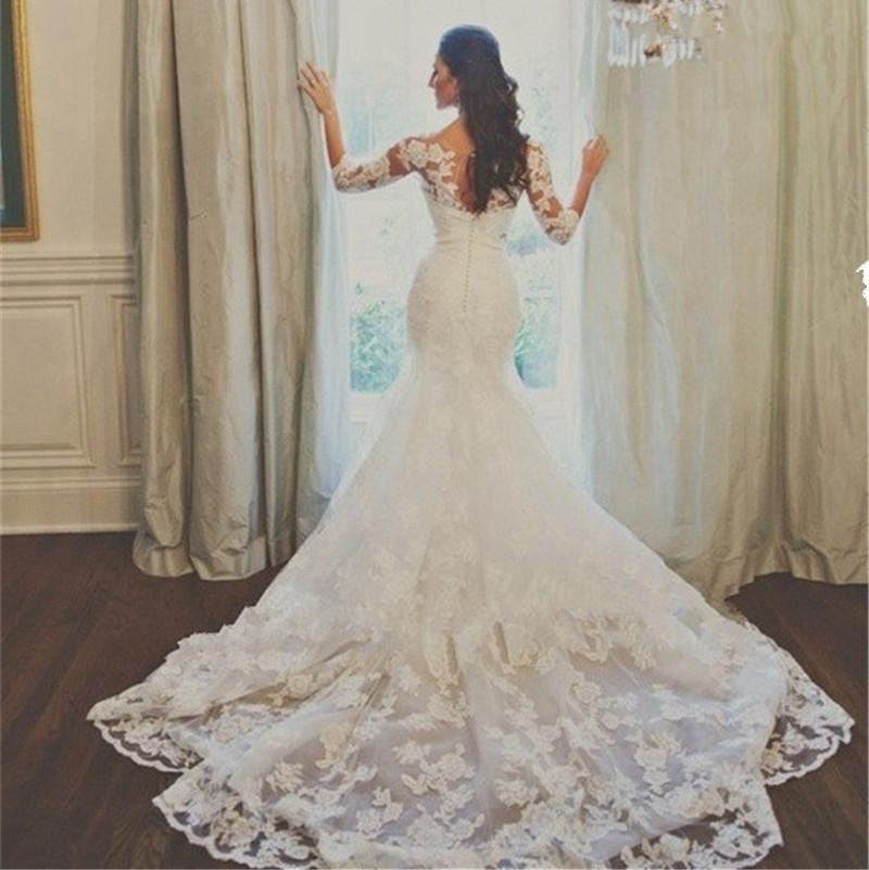 Sapphire Bridal Vintage Wedding Dress 3 4 Sleeve White: Aliexpress.com : Buy 2015 Vintage White Lace Wedding Gowns