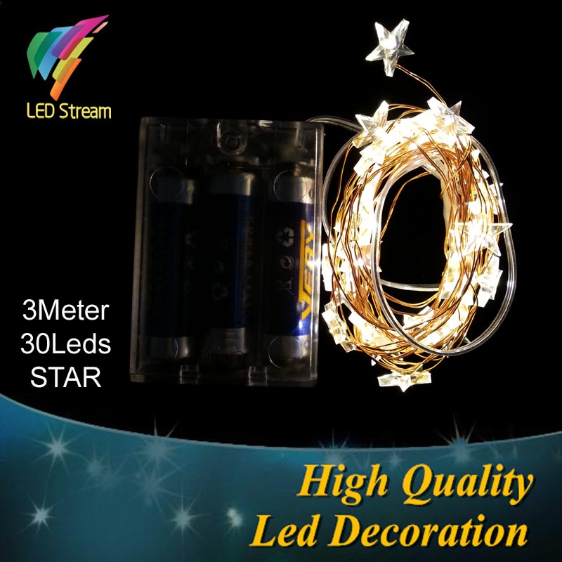STAR Theme 3AA Battery Powered 3M 30 LED Copper String Fairy Lights, Christmas