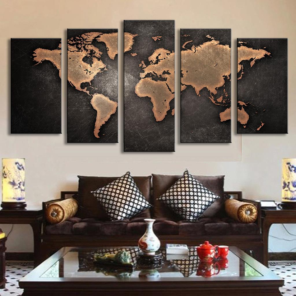 5 pcs set modern abstract wall art painting world map canvas painting for living room homedecor. Black Bedroom Furniture Sets. Home Design Ideas
