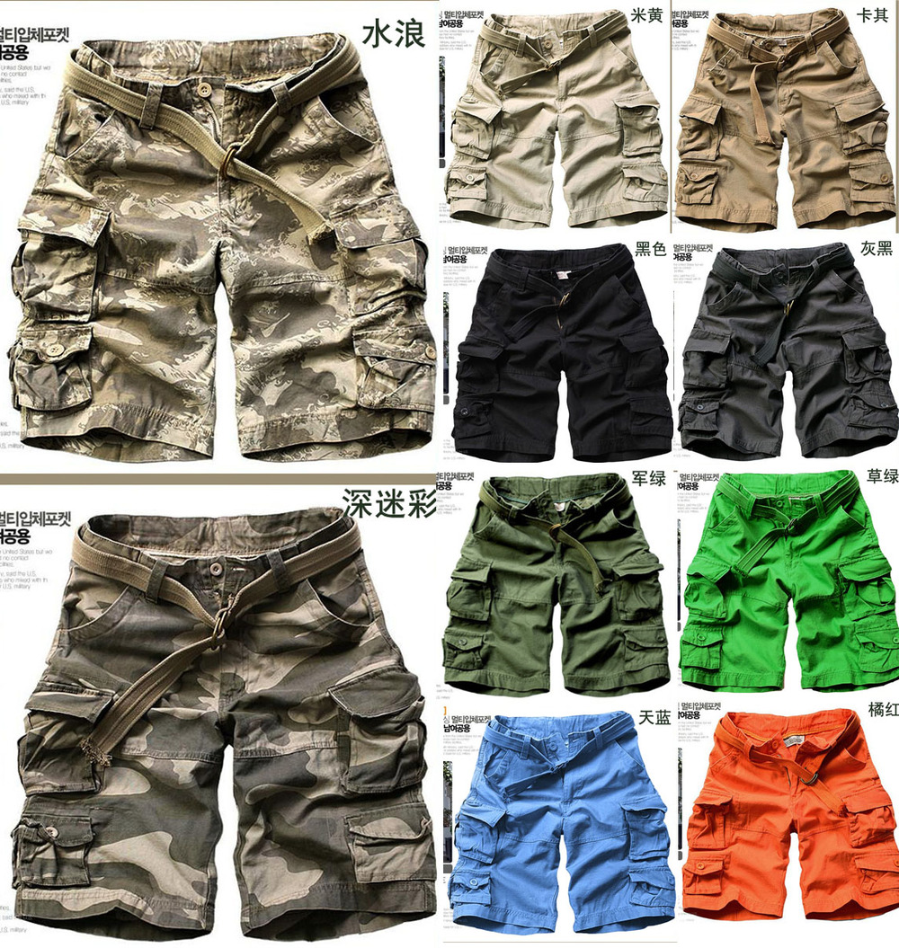 New 2015 Casual Men's Clothing Green Camouflage Short