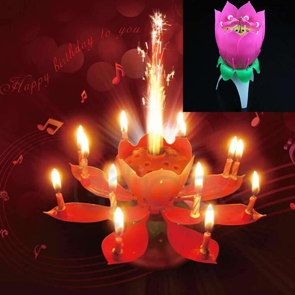 Hot Selling New Musical Spin Flower Party Gift Rotating Sparkler Cake Topper Birthday Candle Free Shipping J117
