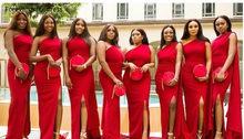 Красное платье подружки невесты, летнее платье подружки невесты на одно плечо, платье подружки невесты размера плюс, индивидуальный пошив(Китай)