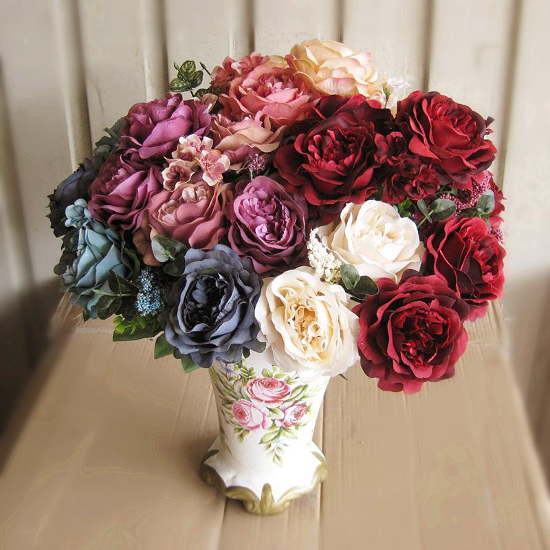 Hot Vivid 13 Branches Autumn Artificial Fake French Peony Peony Flower Posy Home Room Bridal Hydrangea Decor Real Touch