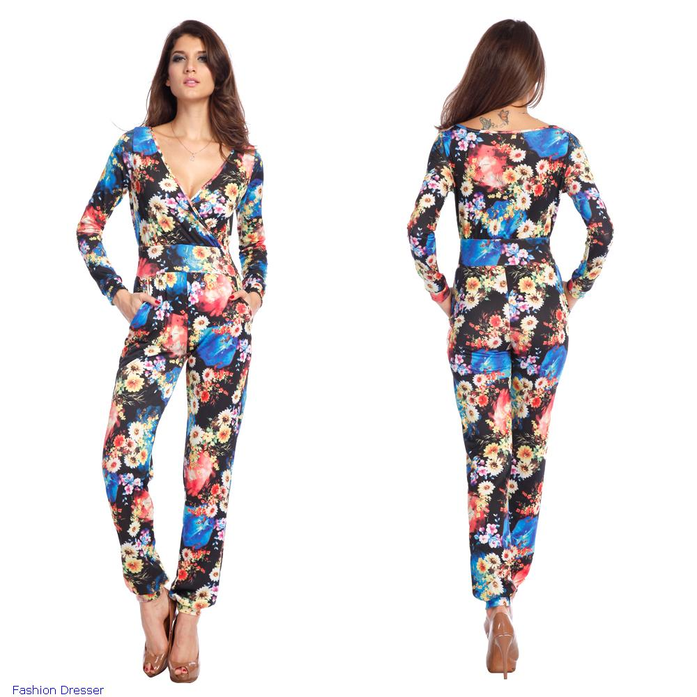 4d5c6e4ca6e Fashion Women Summer Colorful Long Full Sleeve Sexy Casual Vintage Floral  Print Jumpsuit Rompers .
