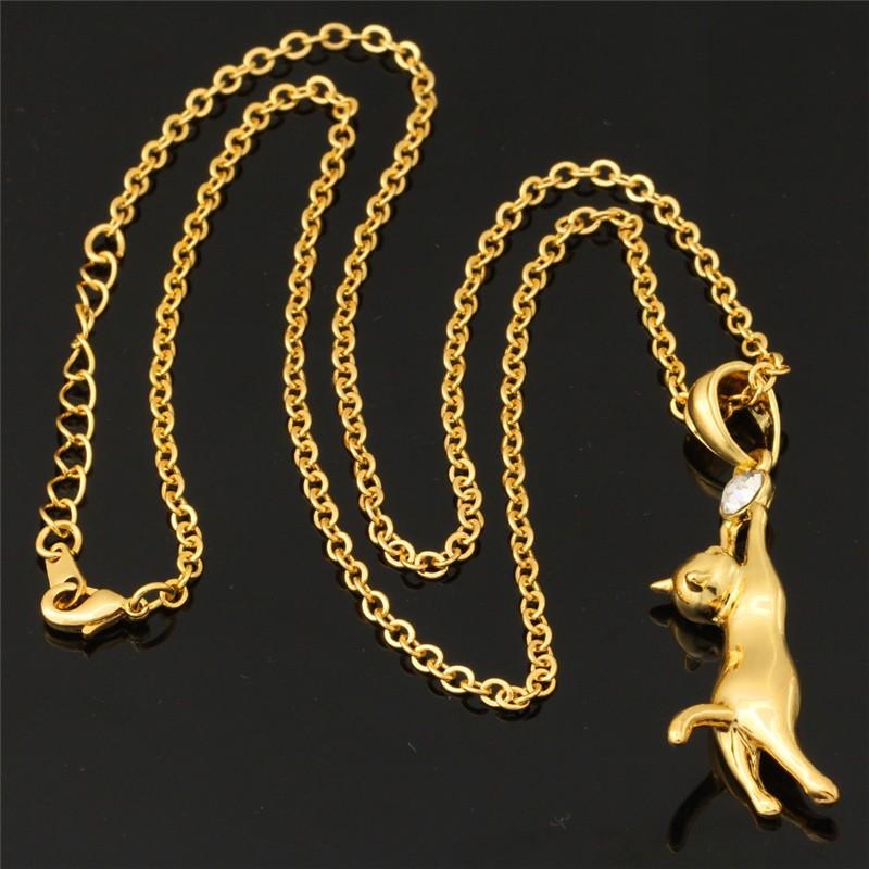 2014 חדש חתול מקסים תליון תכשיטי יוניסקס מתנה הסיטוניים אופנתי 18K זהב אמיתי מצופה ריינסטון שרשרת שרשרות & תליונים N379