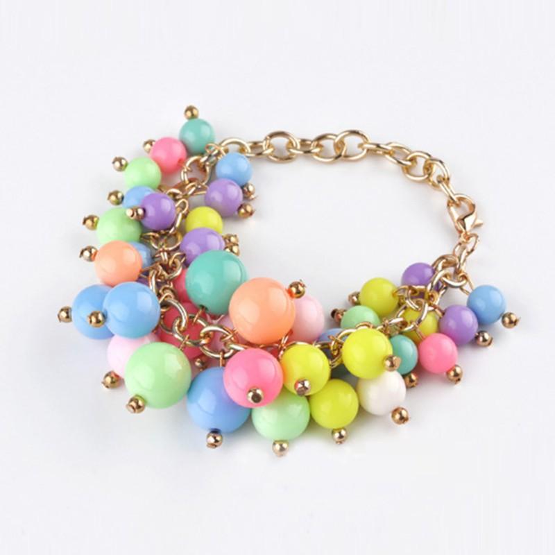 Конфеты цвет цепи браслеты разнослоистое перл браслет для женщин браслет ювелирных изделий бесплатная доставка