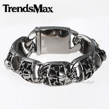 Gothic Biker 20mm Wide Heavy Mens Boys Chain Pirate Skull Link 316L Stainless Steel Bracelet Personal Size HB94
