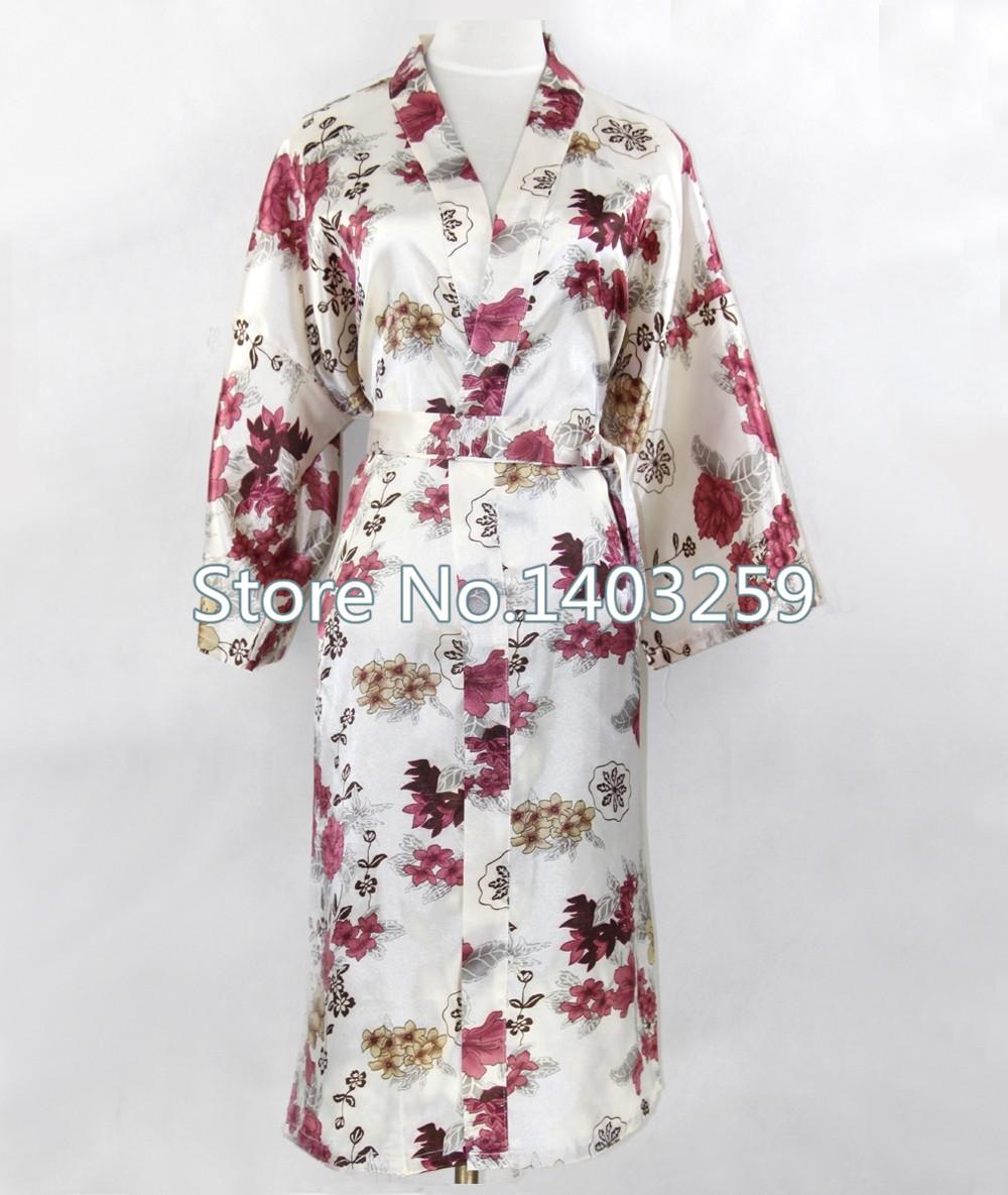 Разноцветные цветы китайских женщин шелковый район халаты кимоно платье сексуальная длинными ночная рубашка пижамы pijama feminino Большой размер