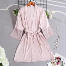 Розовый женский халат из вискозы, свадебное платье, женская ночная рубашка, сексуальное кружевное кимоно для невесты, халат, одежда для сна(Китай)