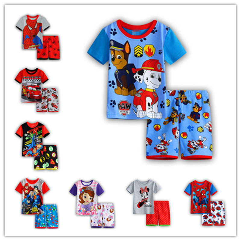 2016 Children s pajamas set baby Girl s summer clothing set Iron man100 cotton Boy s