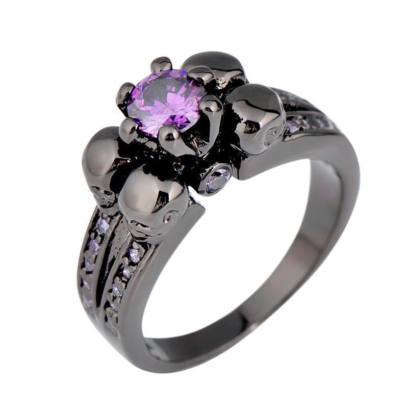 Purple-Amethyst-Skull-Jewelry-Women-Men-Ring-Anel-Aneis