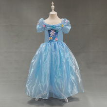Free Shipping Retail 1pc 2015 New Girls Movie Cosplay Costume Fairy Cinderella Princess font b Dress