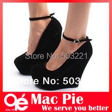 Brand sexy fashion women's genuine Platform high heels Wedges Buckle shoes Free Shipping