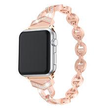 Женский ремешок из нержавеющей стали для Apple Watch 38 мм 42 мм ремешок для iWatch Band 40 мм 44 мм Серия 2 3 4 5 браслет ремень(China)