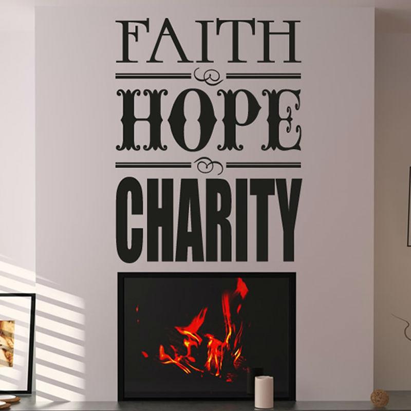 Faith Hope Charity Living Room <font><b>Inspirational</b></font> Wall Sticker Quotes Vinyl Removable <font><b>Home</b></font> <font><b>Decor</b></font>