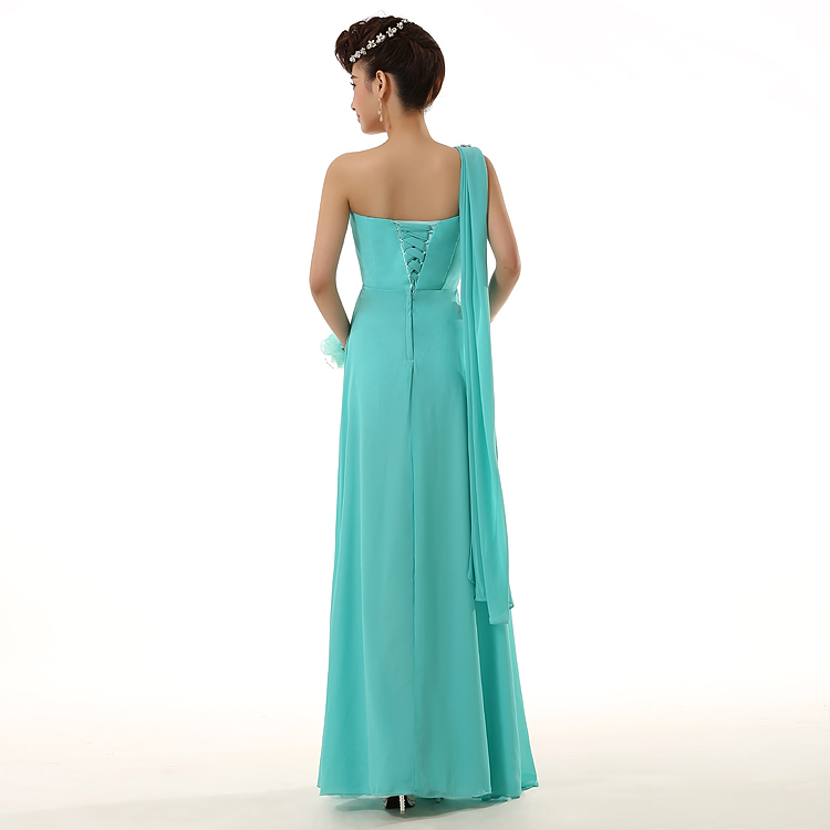 new wedding bridesmaid party long chiffon one shoulder ...