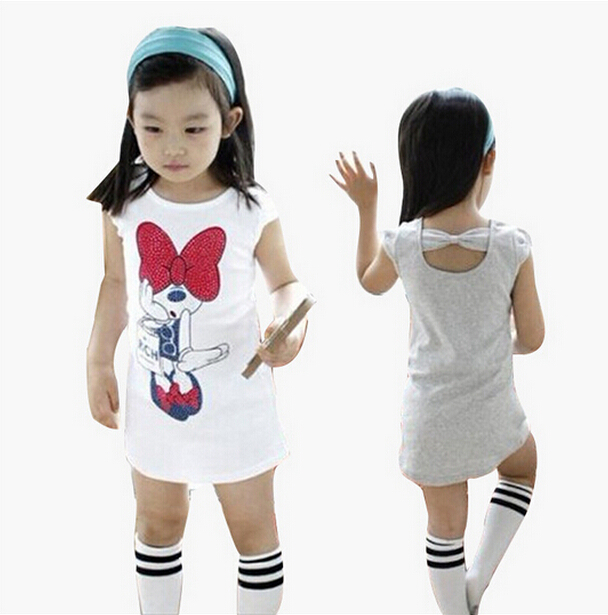 Girl Shine Minnie Casual T Shirts Kids Cartoon Loose Long Tops Tee Children T Shirts Casual