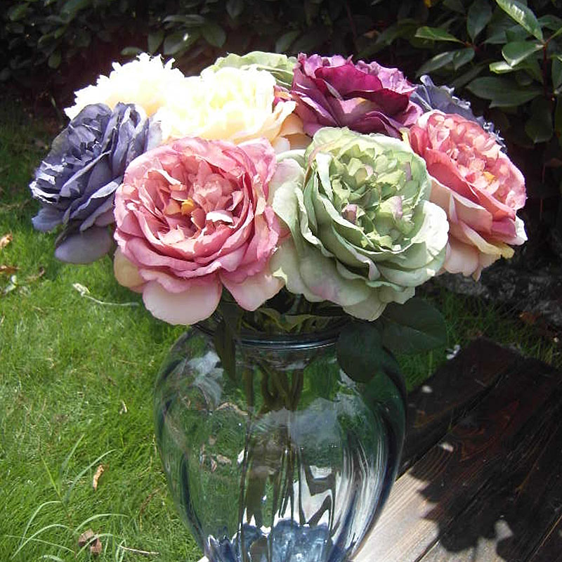 Wedding Bouquets Without Flowers: 5pc Oil Painting Tea Rose Artificial Flower Plants Without