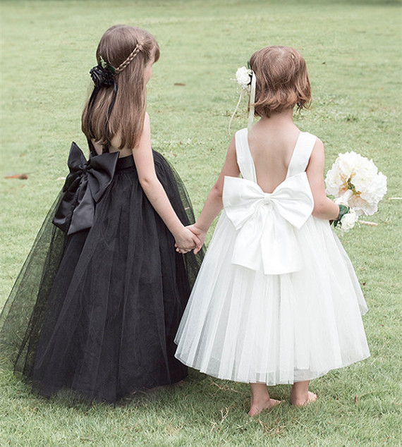 2015 New Stain Lace Tulle Flower Girl Dress With Bow Sash