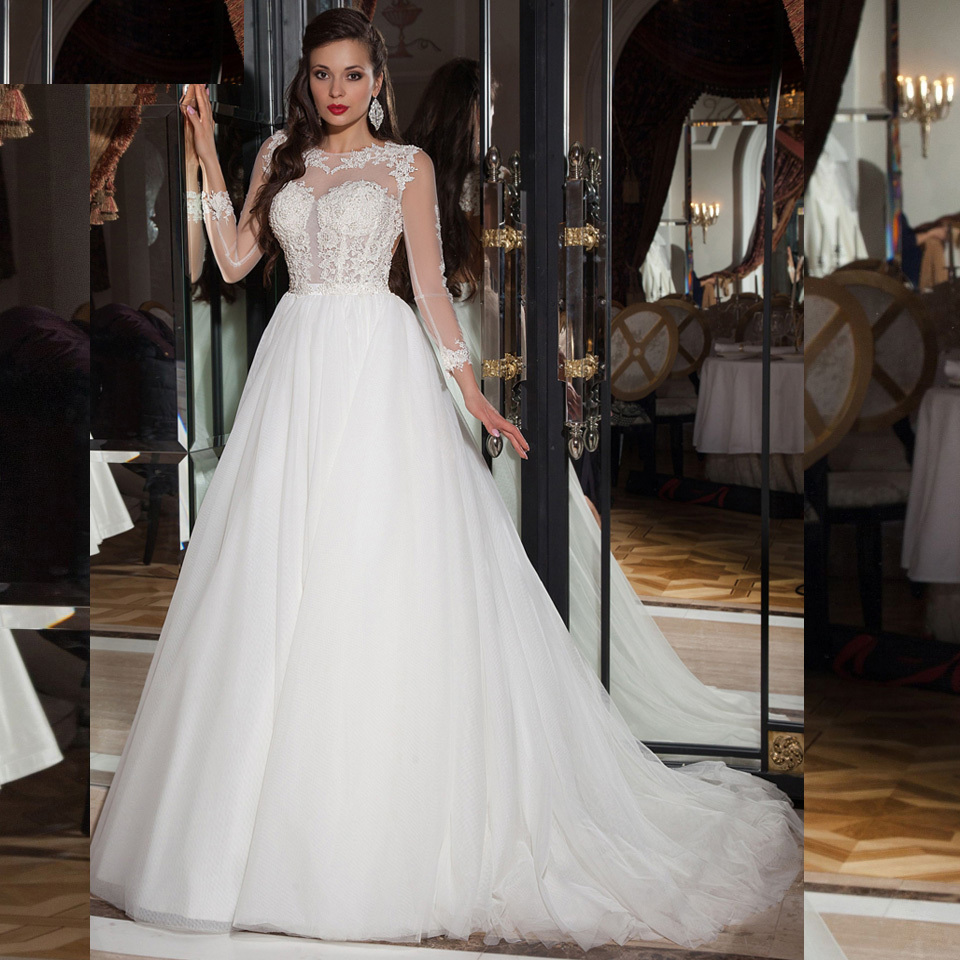 Elegant Simple Long Sleeve Wedding Dress: Elegant Simple Long Sleeve Wedding Dress With Lace 2015