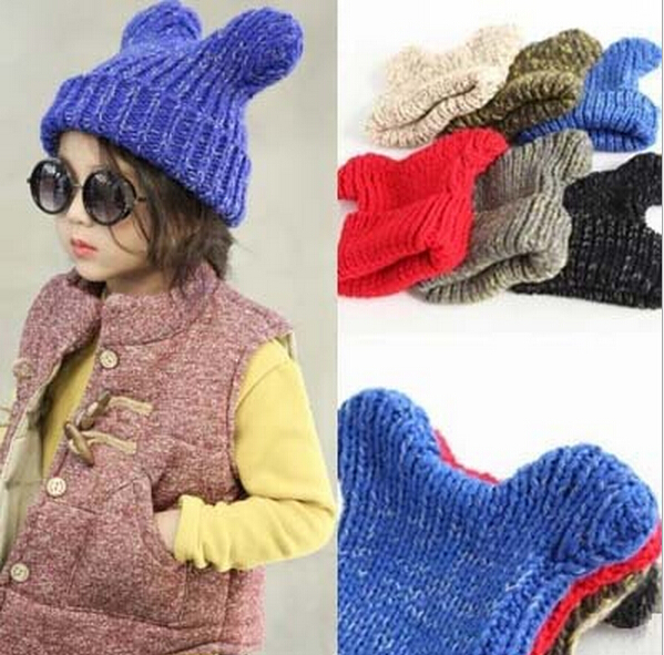 New Winter Children Cartoon Mickey Ears Knitted Turtleneck Caps Baby Warm Hats Girls Candy Color Thick