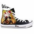 Wen Design Custom Hand Painted Shoes Anime Naruto Gaara Black Butler Sabastian Men Women s High