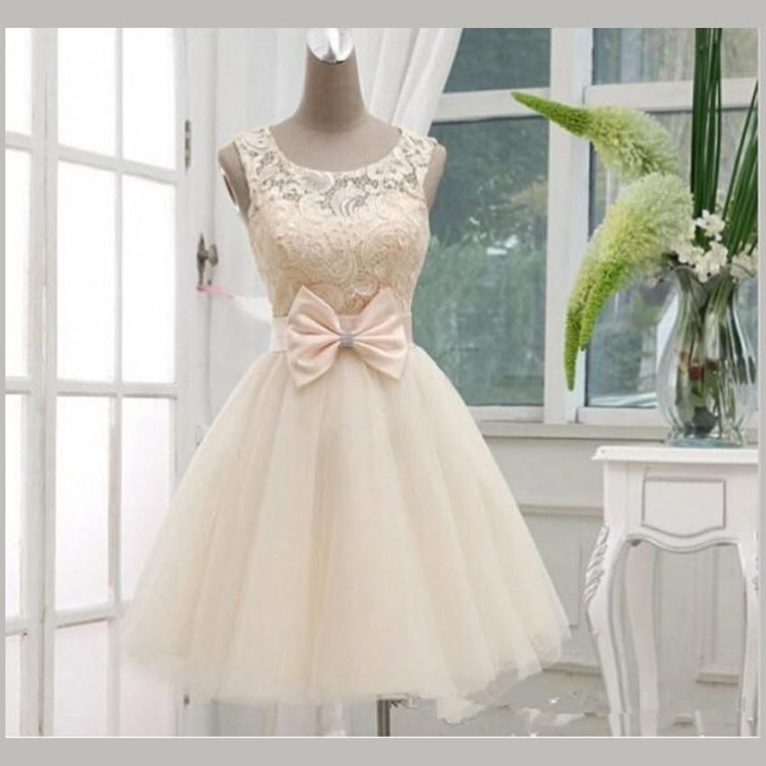 Vintage Short Lace Bridal Dresses Knee Length Wedding