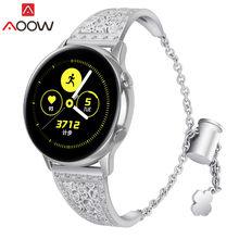 20 мм 22 мм браслет из нержавеющей стали для samsung Galaxy Watch 42 мм 46 мм Galaxy Active роскошный Алмазный женский ремешок для часов(Китай)