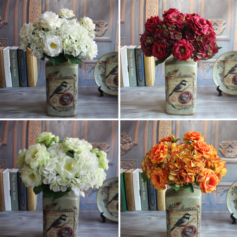 New Elegant Pretty Artificial 3 Head Spring Rose 2 Full Open With One Bud Floral Decorative Home Party