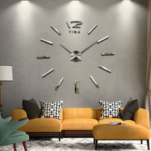 2015 new hot sale clock watch wall stickers clocks home decoration modern quartz diy 3d acrylic Mirror Metal free shipping