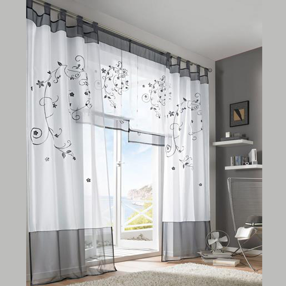 2016 tulle green grey purple blackout embroidery curtains. Black Bedroom Furniture Sets. Home Design Ideas