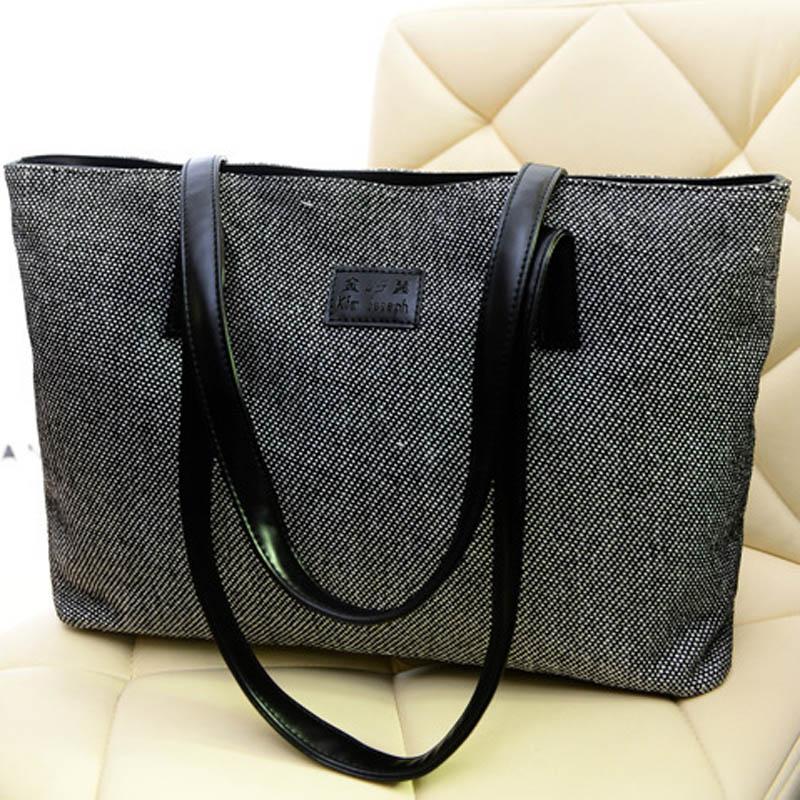 large women canvas handbag zipper shopping shoulder bag girls beach bag casual tote fashion. Black Bedroom Furniture Sets. Home Design Ideas