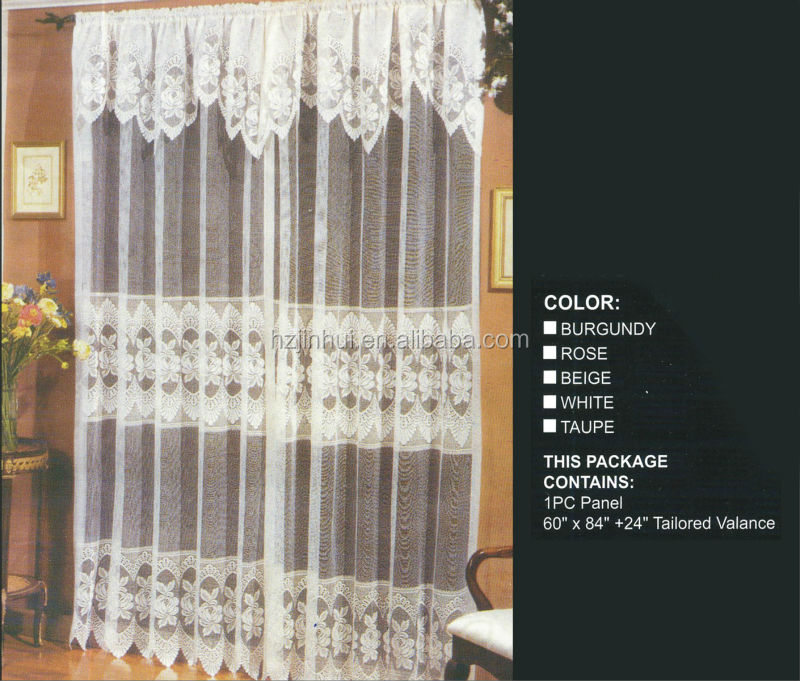 100 Polyester Multi Color Floral Jacquard Sheer Lace Curtains