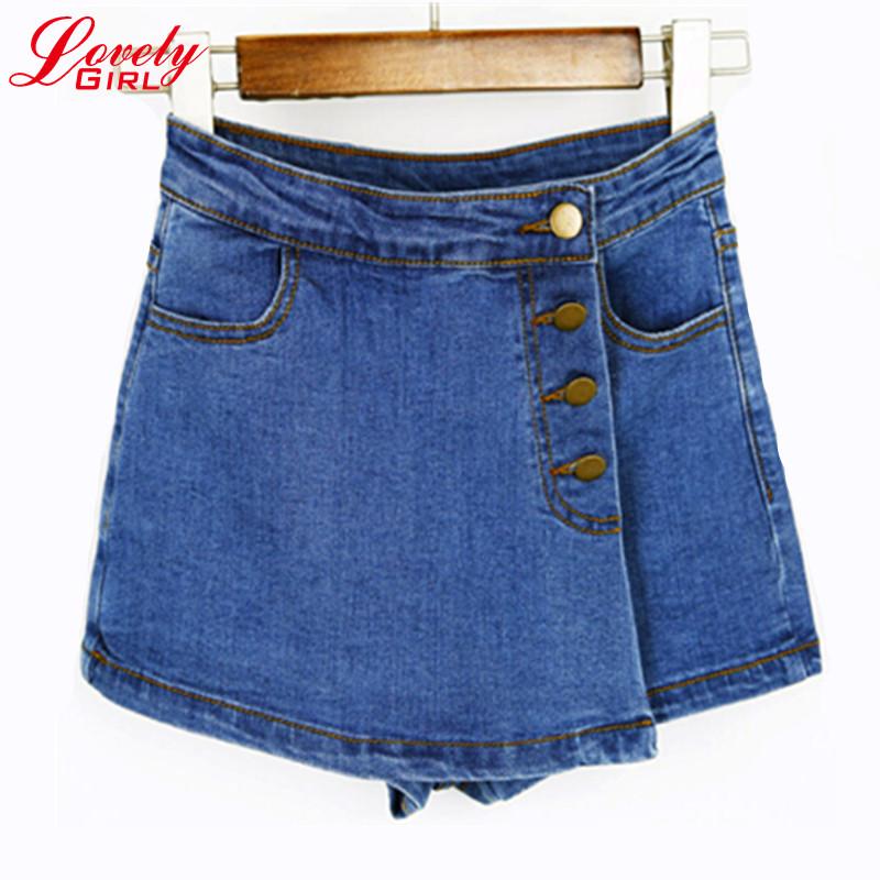 Compra de talle alto pantalones cortos de jean azul online