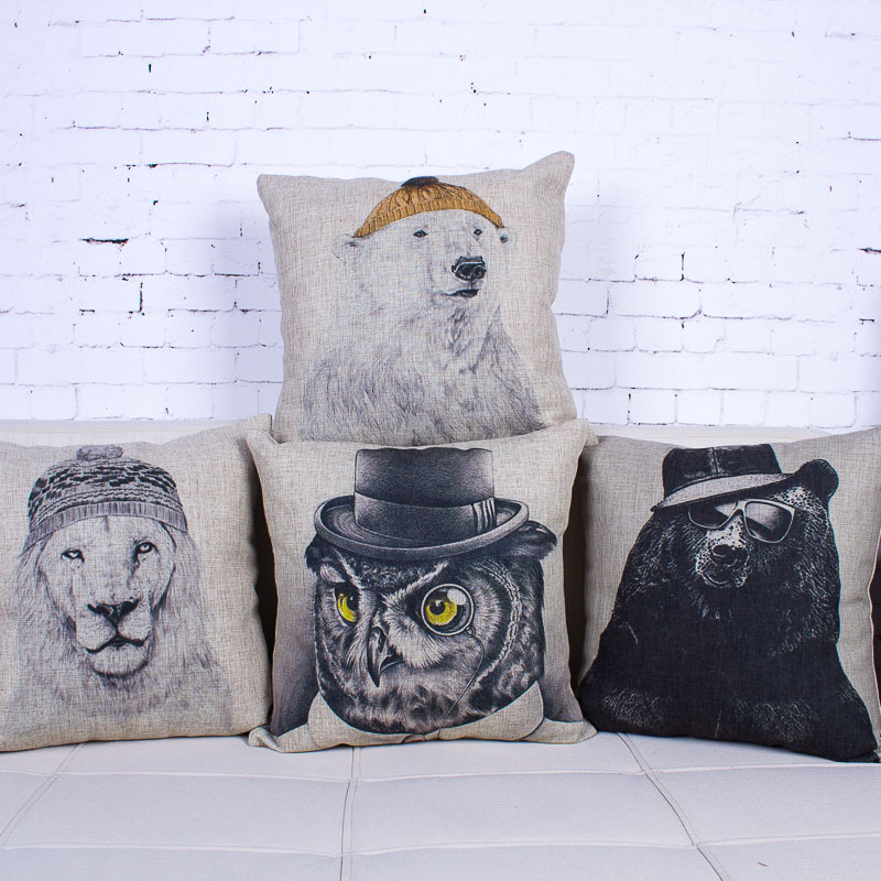 The sketch of bears and lions luxury Seat Cushion simple and stylish  cushion American style creative Cushions Home Decor